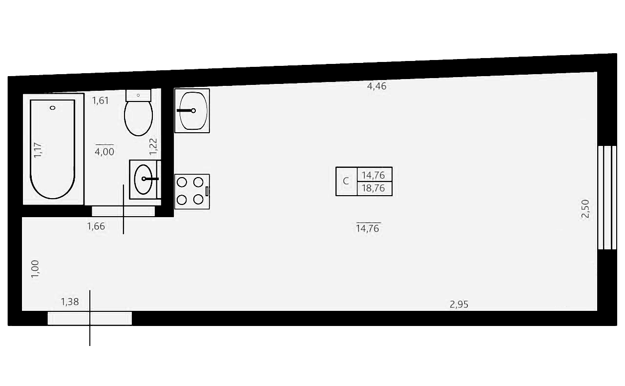 Студия, 18.76 м²