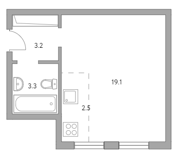Студия, 28.1 м²– 2