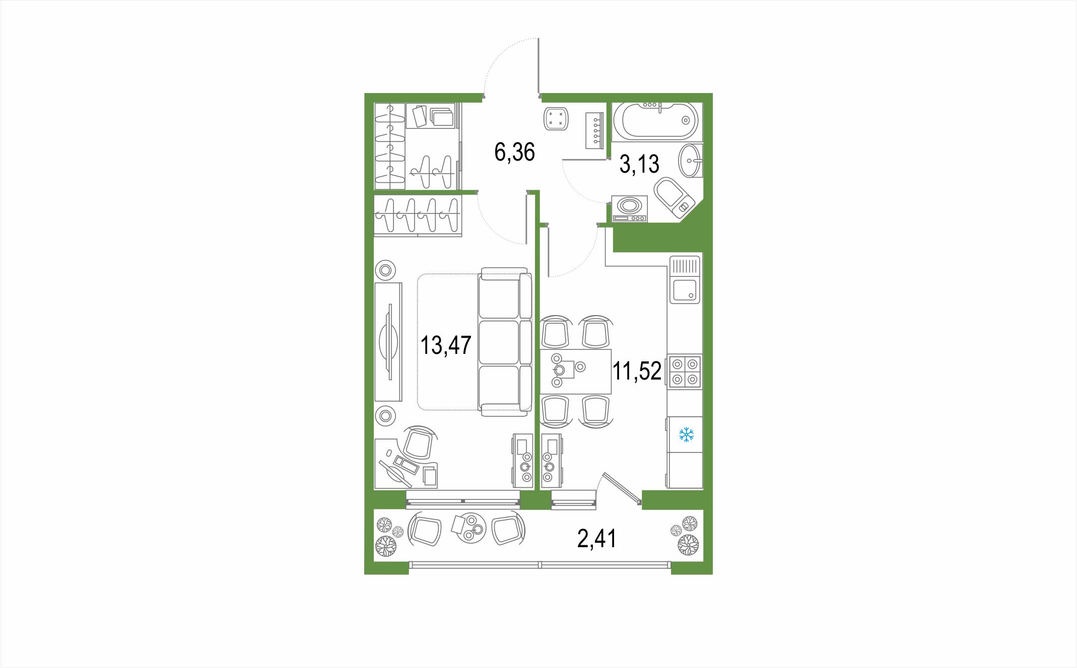 1-к.кв, 36.89 м², от 3 этажа