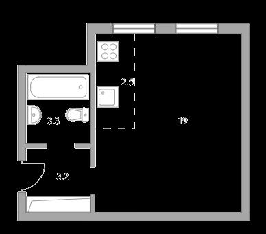 Студия, 28 м²– 2