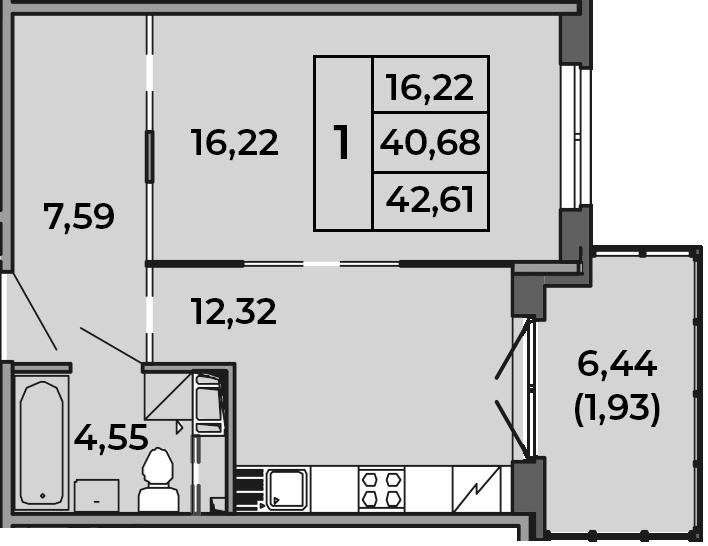 1-комнатная, 42.61 м²– 2