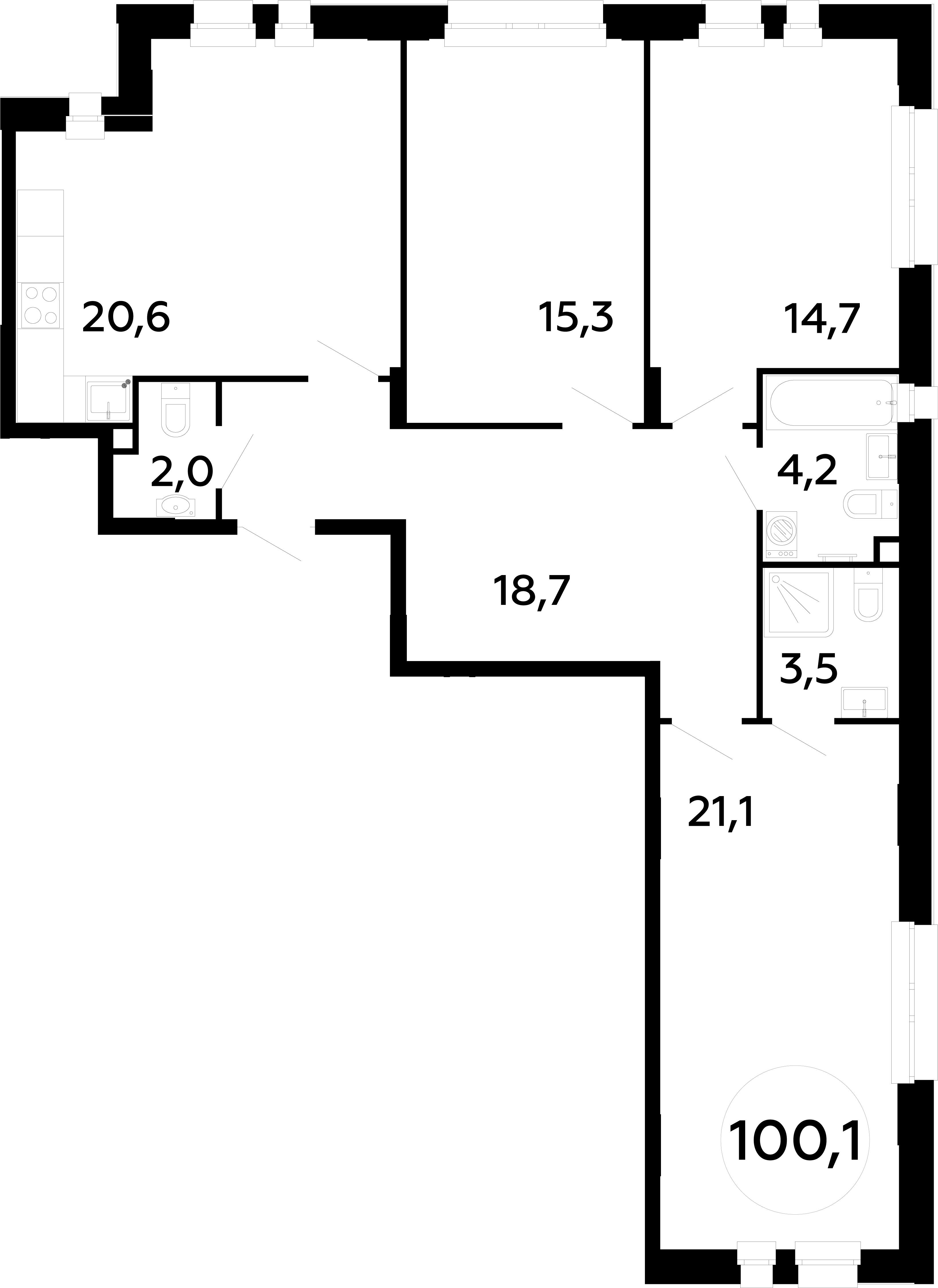 4Е-комнатная, 100.1 м²– 2