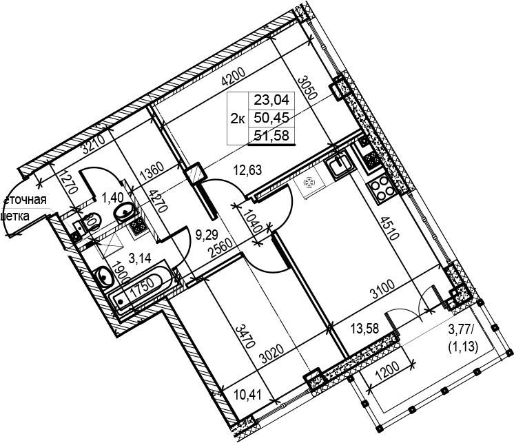 2-комнатная, 51.58 м²– 2