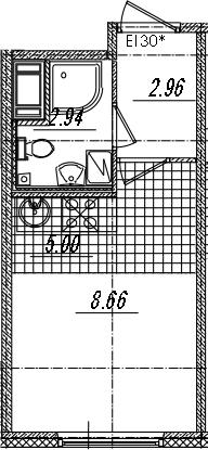 Студия, 19.56 м²– 2