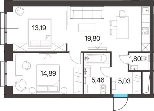 2-комнатная, 60.17 м²– 2
