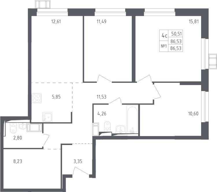 4Е-комнатная, 86.53 м²– 2