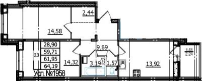 2-к.кв, 59.71 м²