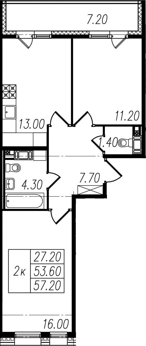 2-к.кв, 53.6 м²