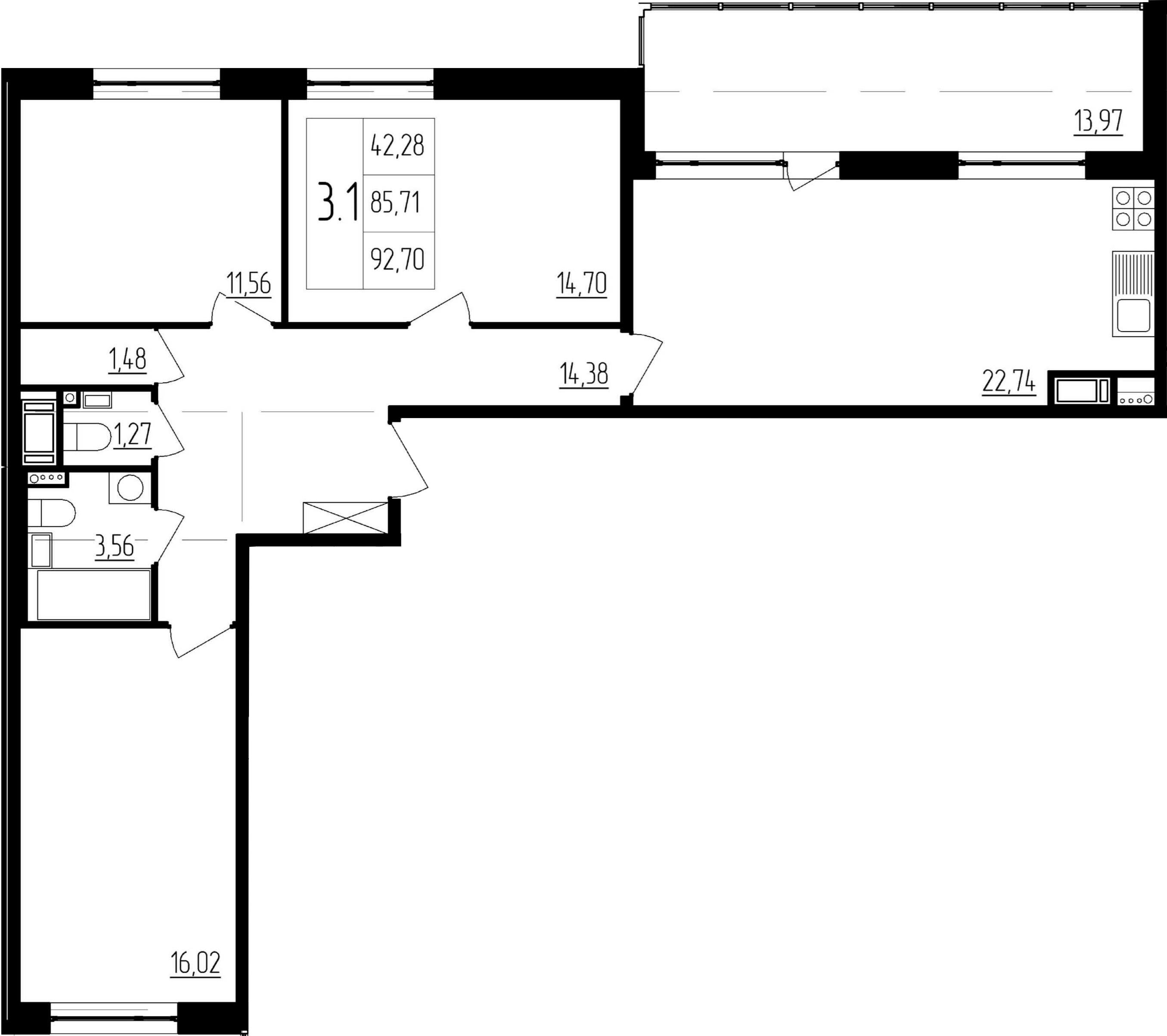 4Е-комнатная, 85.71 м²– 2
