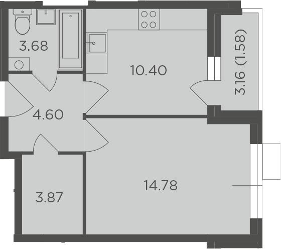 1-комнатная, 38.91 м²– 2