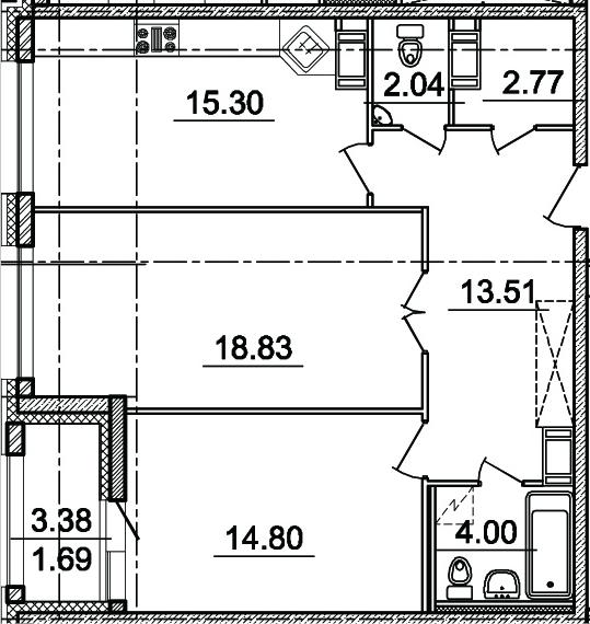 2-комнатная, 71.25 м²– 2
