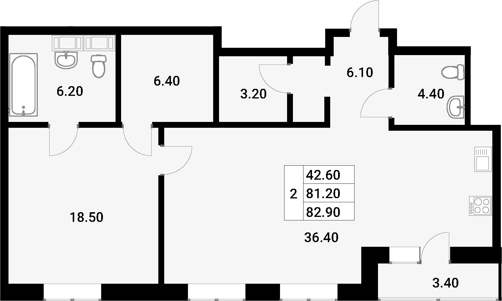 2-к.кв (евро), 84.6 м²