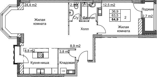 2Е-комнатная, 64.9 м²– 2
