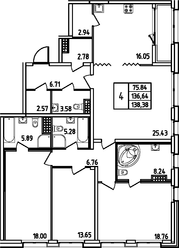 5Е-к.кв, 138.38 м²
