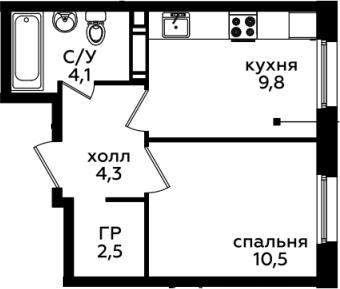 1-комнатная, 31.2 м²– 2