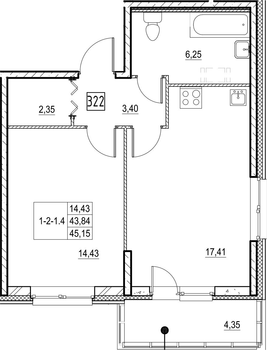2-к.кв (евро), 48.21 м²