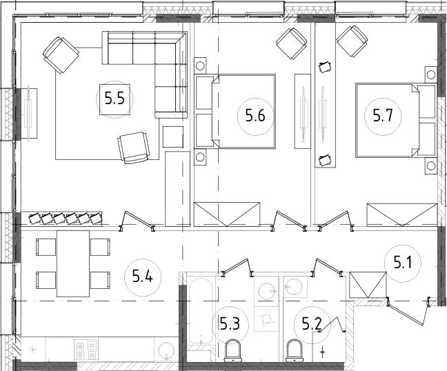 3-комнатная, 76.97 м²– 2