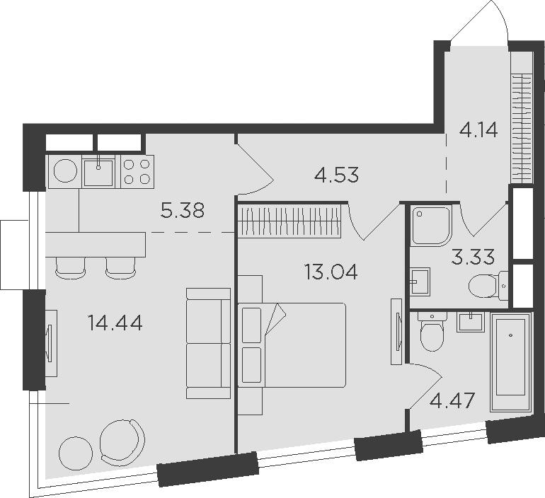 2Е-комнатная, 49.33 м²– 2
