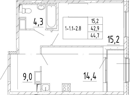 1-комнатная квартира, 44.7 м², 3 этаж – Планировка