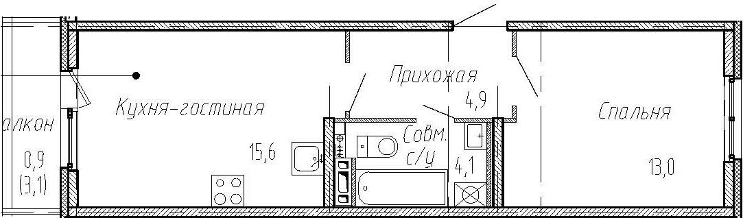 2Е-к.кв, 37.6 м², 4 этаж