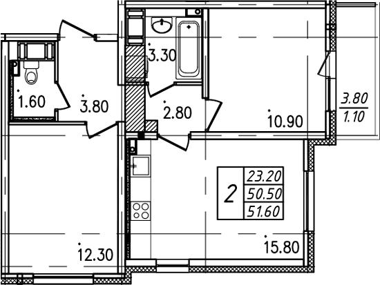 2-к.кв, 51.6 м²