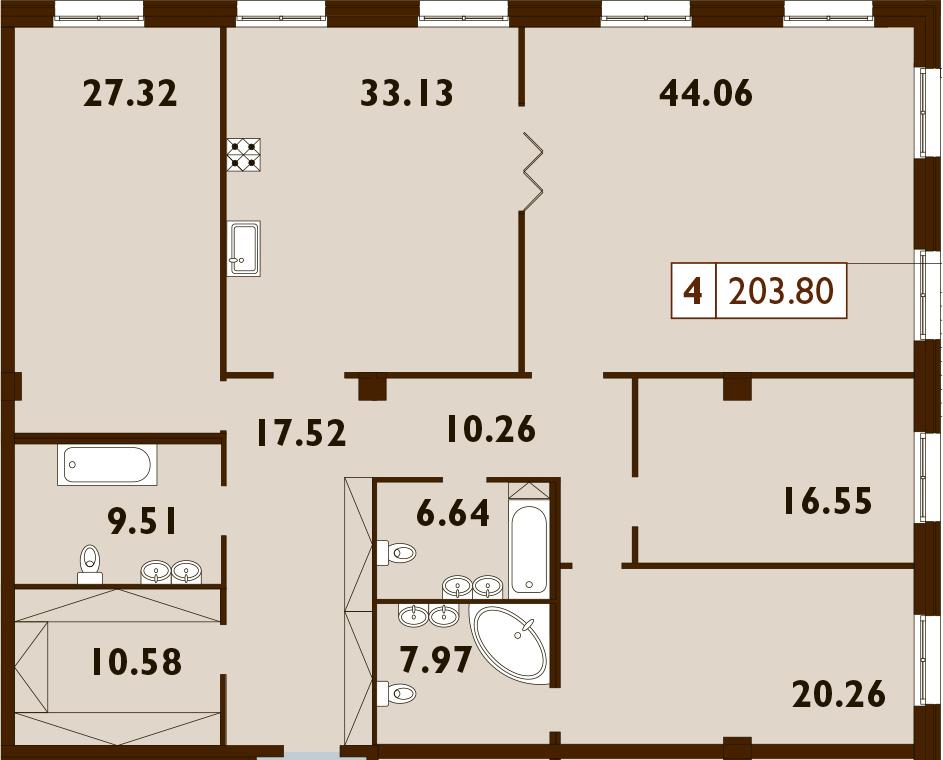 5Е-к.кв, 203.8 м², 1 этаж