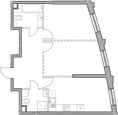 Свободная планировка, 63.95 м²– 2