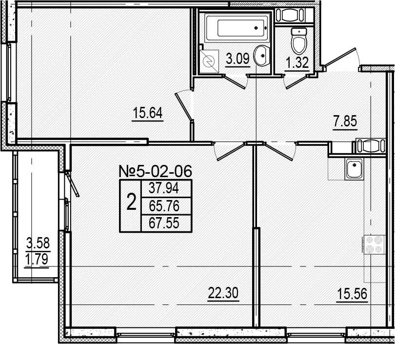 3-к.кв (евро), 69.34 м²