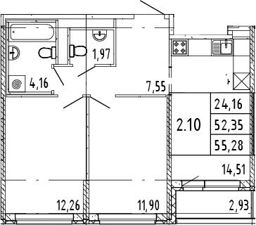 2-к.кв, 53.82 м²