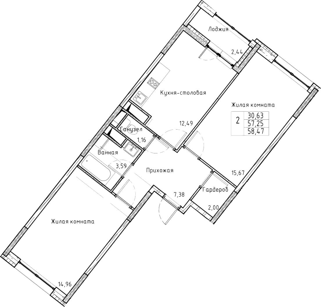 2-к.кв, 58.47 м², 6 этаж