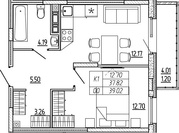 1-комнатная, 39.02 м²– 2