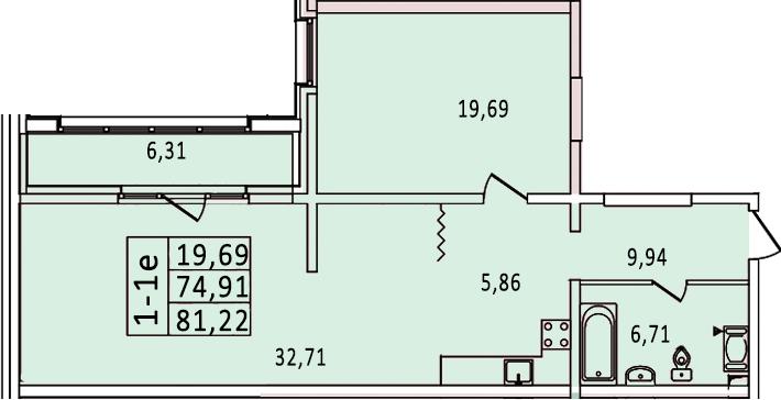 2-к.кв (евро), 87.53 м²