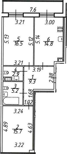 2-к.кв, 68.2 м², 10 этаж