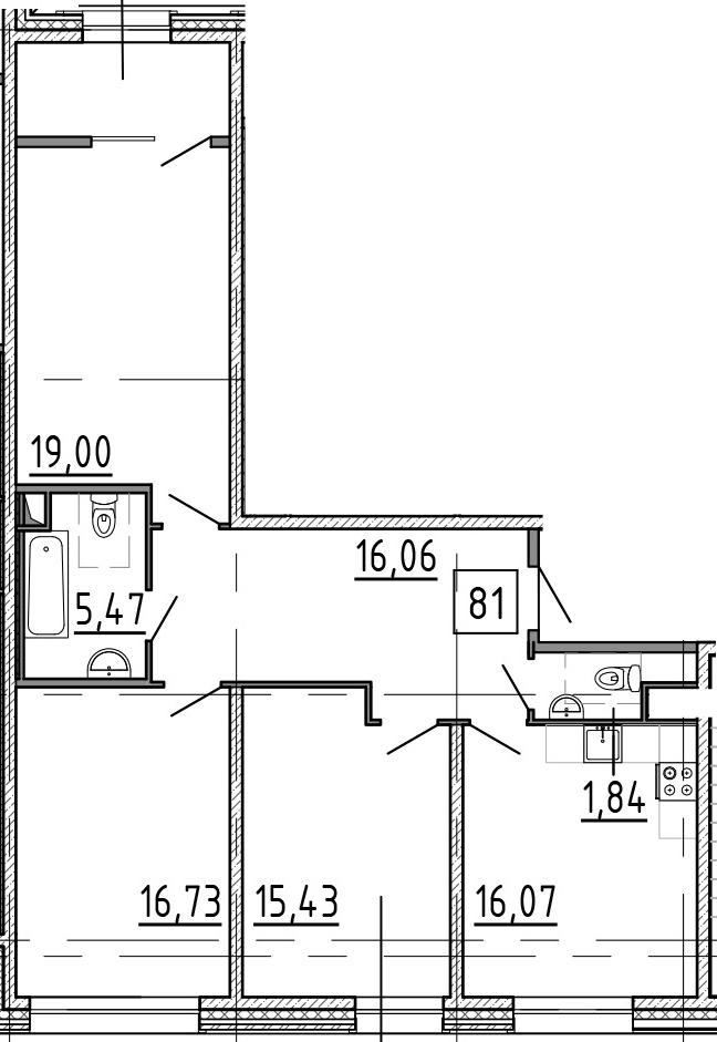 3-комнатная, 95.7 м²– 2