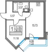 2-к.кв (евро), 40.11 м²