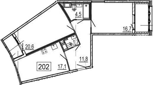 3Е-к.кв, 76.4 м², 4 этаж