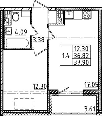 2Е-комнатная, 36.82 м²– 2
