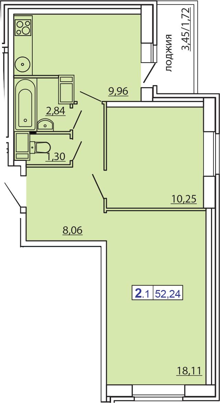 2-комнатная, 52.24 м²– 2