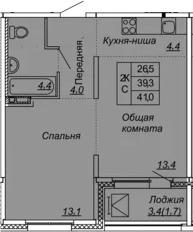 2Е-к.кв, 41 м², от 3 этажа