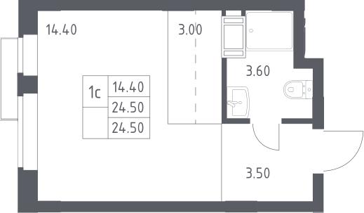 Студия, 24.5 м², 15 этаж