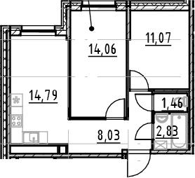3-к.кв (евро), 52.24 м²