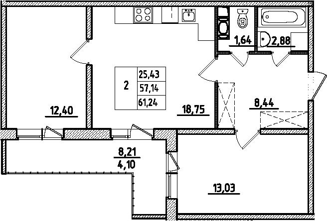 3-к.кв (евро), 65.35 м²