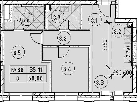 3Е-к.кв, 58.08 м²