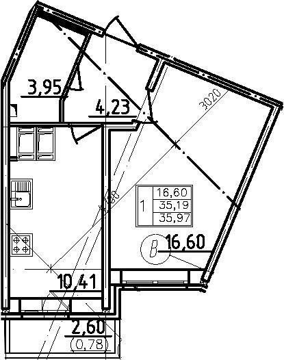 1-комнатная, 35.97 м²– 2