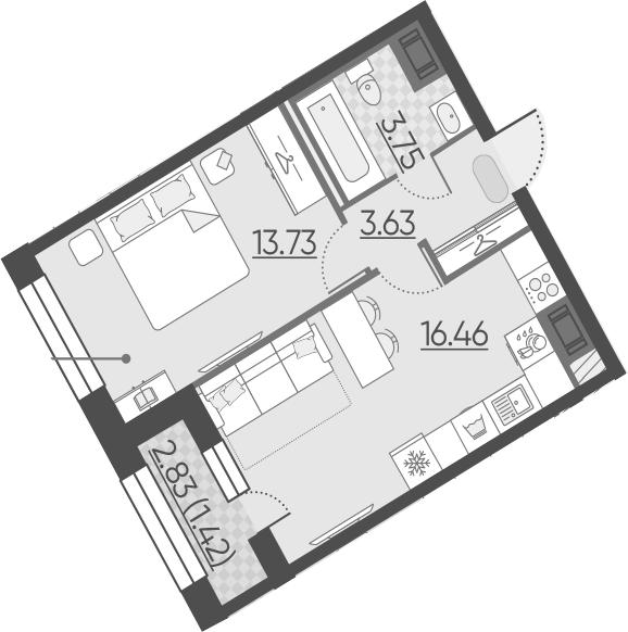 2Е-к.кв, 38.99 м²