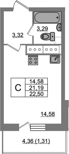 Студия, 23.83 м²