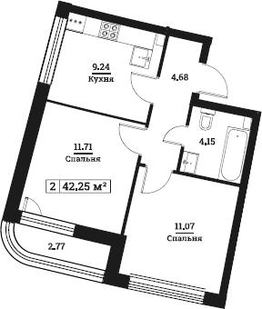 2-к.кв, 42.25 м²
