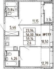 3-к.кв (евро), 59.14 м²