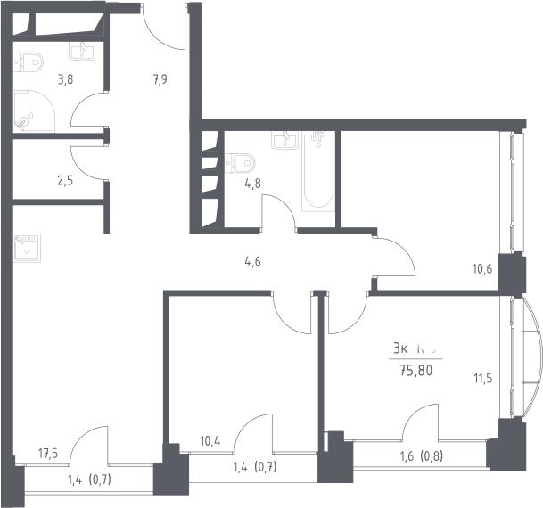 4Е-комнатная, 75.8 м²– 2