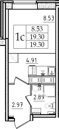 Студия, 19.3 м²